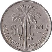 50 centimes - Albert I (en néerlandais) – revers