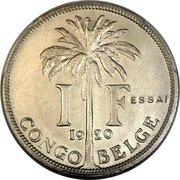1 Franc - Albert I (Essai ; texte en français) – revers