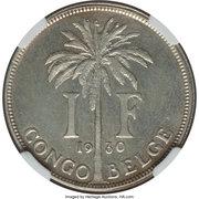 1 franc - Albert I (Essai, texte français) – revers