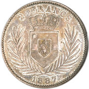 2 francs - Léopold II – revers