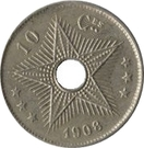 10 centimes - Léopold II – revers
