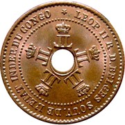 1 centime Leopold II – avers