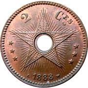 2 centimes - Leopold II – revers