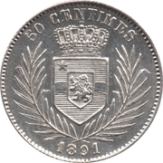 50 centimes - Léopold II – revers