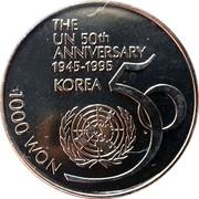 1000 Won (50ème anniversaire de l'ONU) – revers