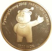 1000 won Jeux paralympiques d'hiver PyeongChang 2018 – revers
