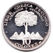 10 colones (Tentative d'unification de l'Amérique Centrale) – revers