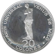 20 Colones  (Venus de Milo) – revers