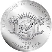 100 Francs CFA (Les Big Five : le rhinocéros) – avers
