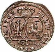 1 solidus Charles de Saxe (Mitau; boucliers angulaires) – revers