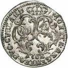 1 grossus Charles de Saxe (Mitau; boucliers courbes sans guirlande) – revers