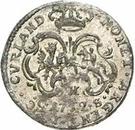 1 grossus Charles de Saxe (Mitau; boucliers courbes avec guirlande) – revers