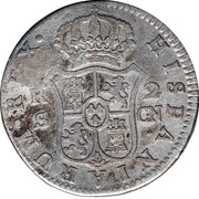 2 Reales (Countermark on Spain - Seville 2 Reales KM# 430.2) – revers