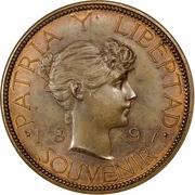 Souvenir Peso (Date widely spaced, essai en bronze) – revers