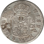 2 Reales (Colonial Countermarked coinage) – revers