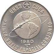 5 Pesos (1er vol spatial soviéto-cubain) -  avers