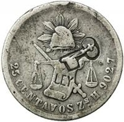 25 Centavos (Countermarked) -  avers