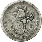 25 Centavos (Countermarked) – avers