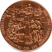 1 Peso (Columbus meeting Natives) -  avers
