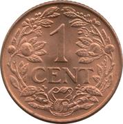 1 cent - Wilhemina – revers