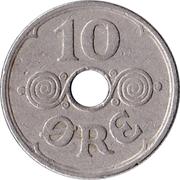 10 øre - Christian X (Cupronickel) -  revers