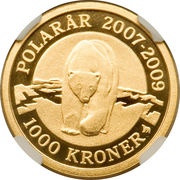 1000 Kroner - Margrethe II (Année polaire internationale 2007-2009) – revers