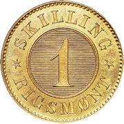 1 skilling Rigsmont - Christian IX – revers