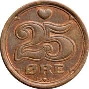 25 øre - Margrethe II (type sans trou) -  revers