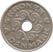 5 kroner - Margrethe II (type avec trou) -  revers