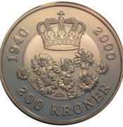 200 kroner - Margrethe II (anniversaire) – revers