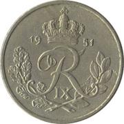 25 øre - Frederik IX (type sans trou) -  avers