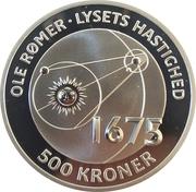500 Kroner - Margrethe II (Ole Rømer - The speed of light) – revers