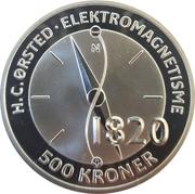 500 Kroner - Margrethe II (H.C. Ørsted - Electromagnetism) – avers