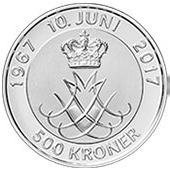 500 Kroner - Margrethe II (Noces  d'or) – revers