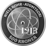 500 Kroner - Margrethe II (Niels Bohr - Atomteori) – revers