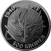 500 Kroner - Margrethe II (75ème anniversaire) – revers