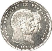 2 kroner - Christian IX (Mariage d'or) -  avers