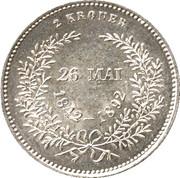 2 kroner - Christian IX (Mariage d'or) -  revers