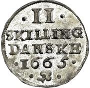 2 Skilling Danske - Frederik III – revers