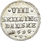 8 Skilling Christian V (Glückstadt) – revers
