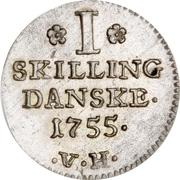 1 skilling - Christian V – revers