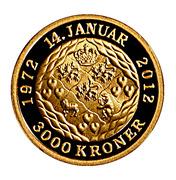 3000 Kroner  Margrethe II (40th Jubilee) – revers