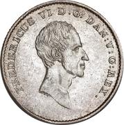 1 Rigsbankdaler / ½ Speciedaler - Frederik VI (Type1; straight neck cut) – avers