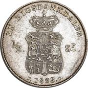 1 Rigsbankdaler / ½ Speciedaler - Frederik VI (Type1; straight neck cut) – revers