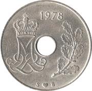 25 øre - Margrethe II (type avec trou) -  avers