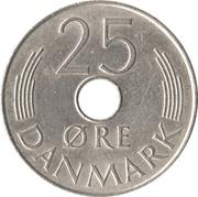25 øre - Margrethe II (type avec trou) -  revers
