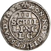 3 Skilling Lybsk (Glückstadt)- Christian IV – revers