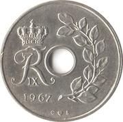 25 øre - Frederik IX (type avec trou) -  avers