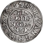 2 Skilling Dansk - Frederik III (Shield type V) – revers