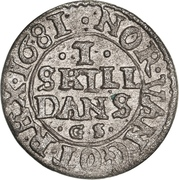 1 Skilling Dansk - Christian V – revers